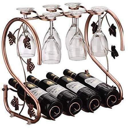 zvcv Estante para Vino, Botella para el hogar, Taza, elección de Cocina, Producto Deslizante para Colgar, encimera no coordinada, Bronce, múltiples Adornos de Vidrio invertido, Estatua
