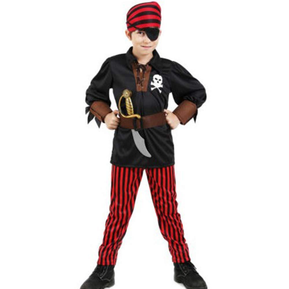 ZCC Conjunto de Disfraz de Pirata Rojo para niños Camisa Negra para niños de Halloween Disfraz