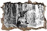 Babyelefant am Wasserfall Kunst B&W Wanddurchbruch im 3D-Look, Wand- oder Türaufkleber Format: 62x42cm, Wandsticker, Wandtattoo, Wanddekoration