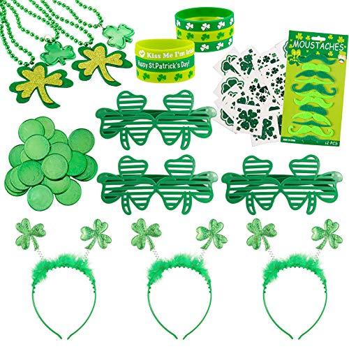 Whaline 120Pcs St. Patrick's Day Party Favor Set Green Shamrock Clover Dress Up Accessories 72 Tattoo Decals 3 Eyeglasses 3 Headband 20 Green Coin 4 Glitter Necklace 12 Mustaches 6 Lucky Bracelet