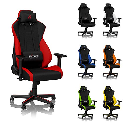 NITRO CONCEPTS S300 Gaming Chair - Inferno Red - Office Chair - Ergonomic - Cloth Cover - Up to 300 lbs Users - 90° to 135° Reclinable - Adjustable Height & Armrests chair gaming red