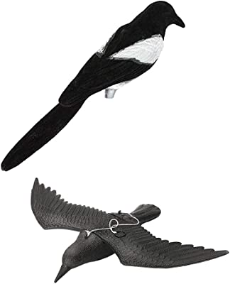 LOVIVER 2 Unids Cuervos Espantapájaros y Magpie Decoy Animales Artificiales para Decorar Jardín Animales Decoración Figuras Ahuyentará a Aves, Conejos: Amazon.es: Jardín