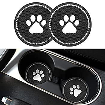 2PCS Universal Bling Car Cup Coaster Rhinestone Car Accessories 2.75 inch Dog Paw Car Cup Holder Insert Mat Pad Set,Suitable for Most Car Interior  Black/White