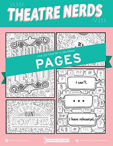 브로드웨이 색칠을 통한 극장 네르즈 색칠 페이지 - 매트 카드 스톡(8.5 X 11)에 인쇄 - 개별 페이지 4개 세트