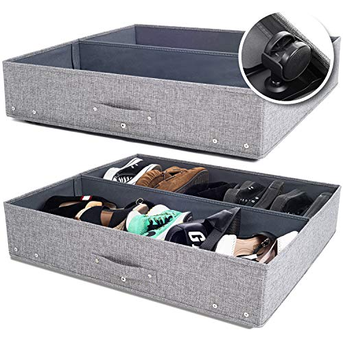 Under Bed Storage with Wheels, Open-Top Underbed Storage Solution for Shoes and Household Items, 28x24x6.3in, Pack of 2