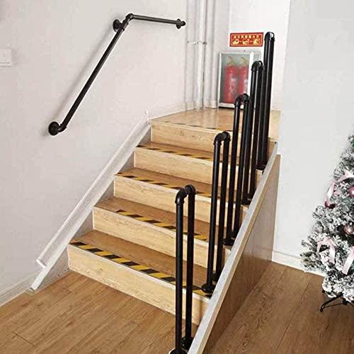 Stair Handrail Matte Black U-Shaped Industrial Wrought Iron Railing Non-Slip Safety for Garden Loft Corridor Villa Hotel Indoor or Outdoor Elderly Children's Support Poles