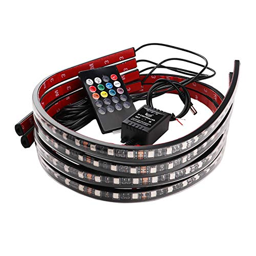 LUKUCEA Auto Unterbodenbeleuchtung LED RGB Unterbau Beleuchtung Neonlichter mit Sound Aktive Funktion und Drahtlose Fernbedienung IP67 Flexible Multicolor, DC 12V