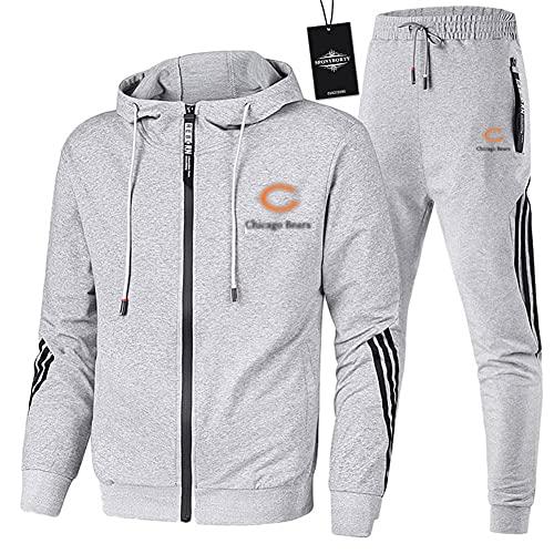 JesUsAvila Hombres Chandal Conjunto Trotar Traje Bear.s Hooded Zipper Chaqueta + Pantalones Deporte Z Y/Gris/L sponyborty