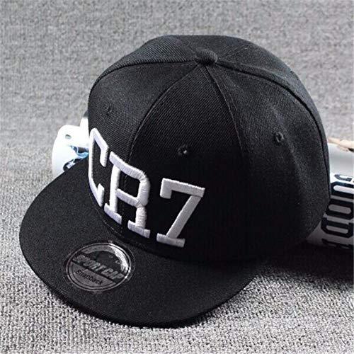 AJSJ Fashion Children Soccer Star Ronaldo Cr7 Embroidery Kids Baseball CapBoys Girls Sports Hiphop Caps Gorras,Black