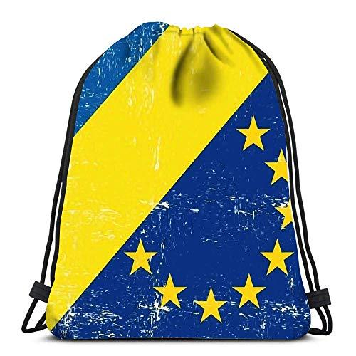 Lsjuee Backpack Drawstring Bag Mixed Flag of Europe and Ukraine Women&Men Sport Gym Sack