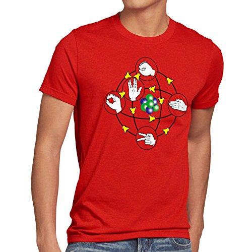 CottonCloud Piedra Papel Tijera Lagarto Spock Camiseta para Hombre T-Shirt Sheldon, Talla:L, Color:Rojo