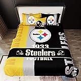 Pittsburgh Steelers Bedding Full/Queen Duvet Set 4 Pieces (1 Duvet Cover 86' x 86' + 2 Pillow Shams + 1 Throw Pillow Covers) Warm Comforter Cover