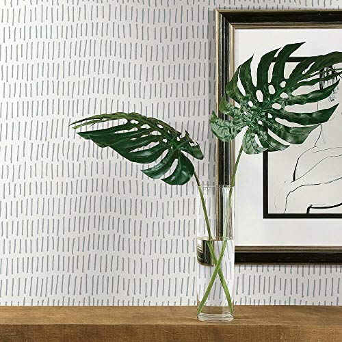 RoomMates RMK11364WP Grey and White Tick Mark Peel and Stick Wallpaper