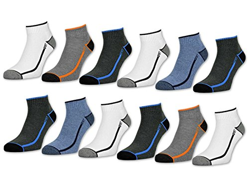 6 oder 12 Paar Sport Sneaker Socken Herren mit verstärkter Frotteesohle Sportsocken - 16215 (43-46, 12 Paar | Farbmix)