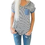 Yeamile Camiseta de Mujer Tops Negro Blusa de Verano Ocasionales Moda Tops de Manga Corta a Rayas Blusa Suelto Ropa de Dormir Camiseta (Blanco, M)