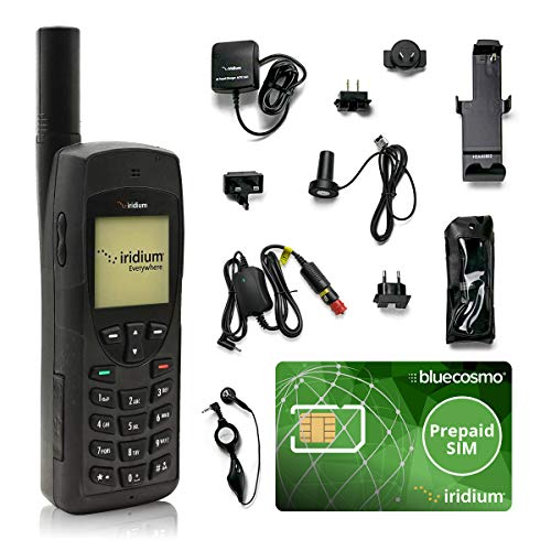 BlueCosmo Iridium 9555 Satellite Phone Bundle - Only Truly Global Satellite Phone - Voice, SMS Text Messaging - Prepaid SIM Card Included - Online Activation - 24/7