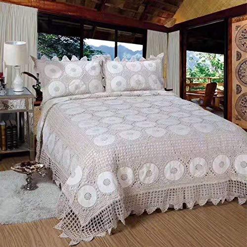 F-jiujin, 100% algodón Mano Crochet edredones Colcha 3 Piezas cobijas de la Cama Cubierta Set King Size colchoneta Hecha a Mano 4 Temporada (Size : 3 Pieces 250x270CM)