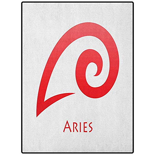 Zodiac Aries Luxury Rug Great for Decorating Bedroom Simplistic Modern Astrological Icon Illustration Fire Sign Horoscope Dark Coral and White 72' x 24'