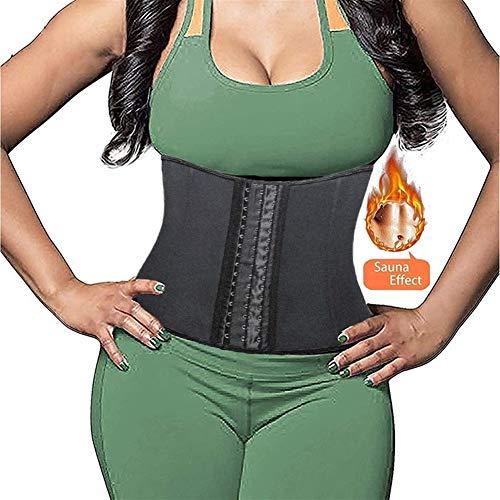 RZDJ Taille Trainer Body Shaper Slimmerbelt Weight Loss Fitness Neopren Fat Burner Sweat Trimmer Back Support Band Shapewear Frauen (Color : Black, Size : XL)