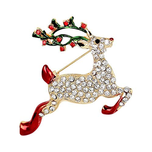 Cadoline Gold-Tone 4.5 x 5.5cm Gold Leaping Reindeer Christmas Brooch Pin Badge Clear Crystal Lights