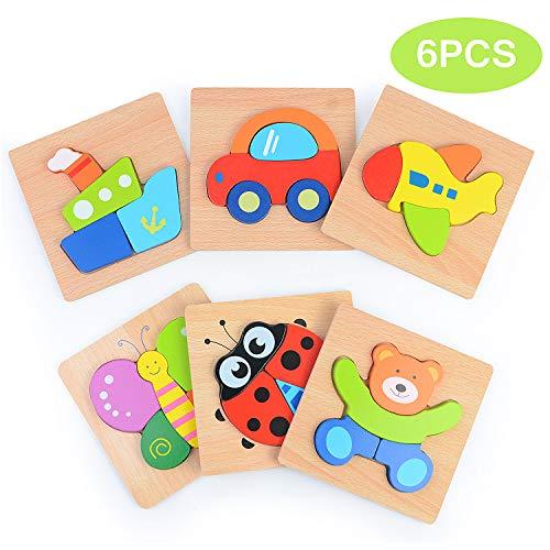 Sinwind Holzpuzzle für Kinder, 3D Steckpuzzle Holzspielzeug,Tierpuzzle Frühpädagogisches Vorschulspielzeug, Bestes Geburtstagsgeschenk für 2 3 4+ Jahre