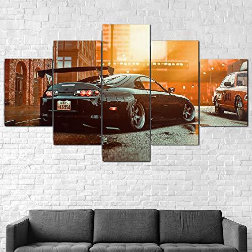 BHJIO 5 Piezas Cuadros Modernos Impresión De Imagen Artística Digitalizada Lienzo Decorativo para Tu Salón O Dormitorio Toyot Supra Sports Car Regalo 150 X 80 Cm.