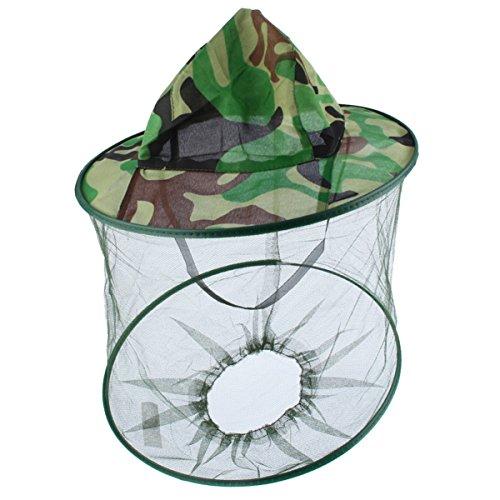 ECYC Chapeau ExtéRieur De Masque Anti-Moustique De Camouflage Vert, Chapeau Net De PêChe De Protection De Visage De Maille