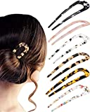 6 Pieces French Style Hair Pins U Shaped Hairpin Cellulose Acetate Tortoise Shell Hair Fork Sticks for Long Hair, 2 Prongs Leopard Updo Chignon Pin Hair Accessories for Women Girls (Colorful Patterns)