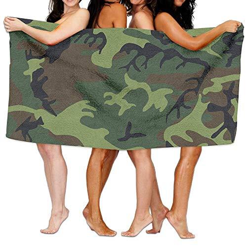 huibe Guerra Militar Ejército Verde Camuflaje Toallas de Playa Sábanas de baño de poliéster de Secado rápido,Toallas Frescas de Verano para Piscina Grande 80x130 cm