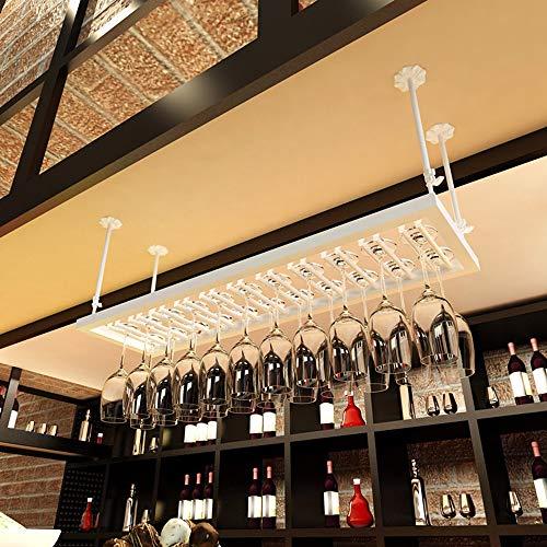 Houder voor wijnglas aan het plafond, creatief, wijnglashouder van ijzer, houder van wijnglas onder de kast, in hoogte verstelbaar, lengte 50~120 cm, A+ L60xW35CM Wit