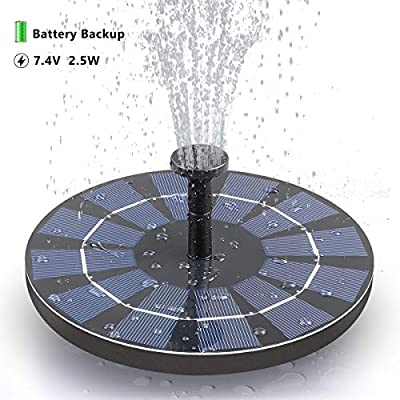 SOARAISE Solar Fountain with Battery Pack, 2.5W Powered Fountain Bird Bath Fountain Pump Free-Standing Outdoor Solar Panel Kits Water Pump for Birdbath, Garden, Pool, Pond