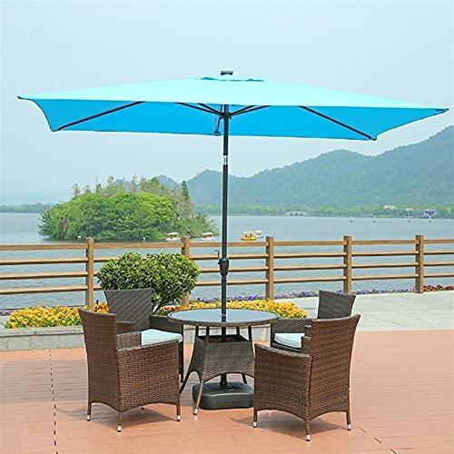 SKYWPOJU Sombrilla inclinable 200 × 300 cm, Redonda, sombrilla Plegable para Exteriores, protección UV, Resistente a la Lluvia y al Viento, para jardín, Patio, balcón, Playa y Piscina (Color : Blue)