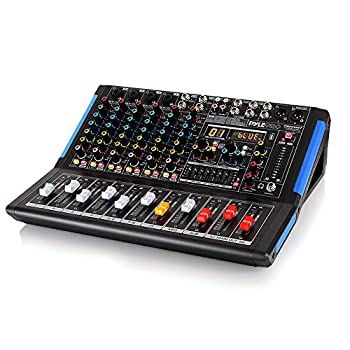 8-Channel Bluetooth Studio Audio Mixer - DJ Sound Controller Interface w/ USB Drive for PC Recording Input XLR Microphone Jack 48V Power RCA Input/Output for Professional and Beginners - PMXU88BT