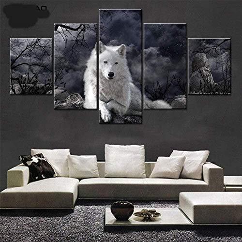 SSOOB Home Art marco de madera lienzo pared arte impresiones mural Lobo animal blanco sobre fondo negro minimalista 100x50 CM Impresiónes sobre Lienzo 5 Piezas Wall Art Canvas 5 lienzos Moderno para S