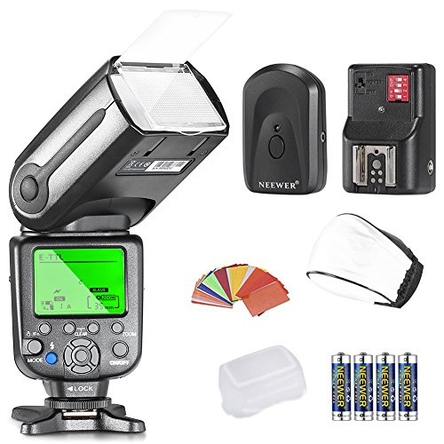Neewer® NW565EX E-TTL Slave Flash Speedlite Kit per tutti modelli Canon, Include: Neewer Flash + Diffusore + 35pz. Filtri Colorati + Trigger + 4pz. Batteria LR