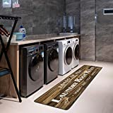 HEBE Laundry Room Runner Rug, Farmhouse Kitchen Floor Mat, Washable Area Rug, Non-Slip Nylon Soft Doormat Entrance Rug for Laundry Room, Mudroom, Kitchen, Washroom and Entryway (2' X 6', Brown)
