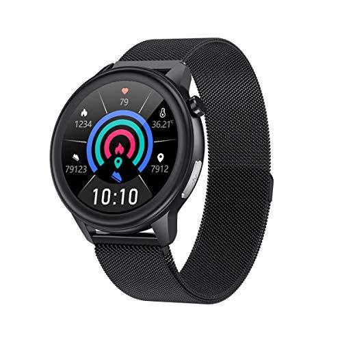 Reloj De Pulsera Inteligente, Monitor De Frecuencia Cardíaca, Termometría, Recordatorio De Llamada, para Mujeres Y Hombres Acero Negro