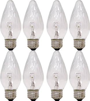 GE Lighting F15 Auradescent Incandescent Candelabra Light Bulbs Flame Tip Clear Finish Decorative F Type 40-Watt 350 Lumen E26 Medium Base 8-Pack