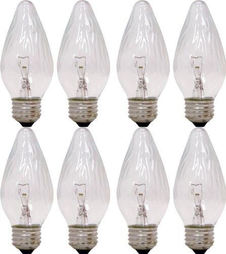 GE Auradescent Incandescent Light Bulbs, F Type Chandelier Light Bulbs, 40-Watt, 350 Lumen, Medium Base, Clear, 8-Pack Flame Tip Light Bulbs, Decorative Candelabra Light Bulbs