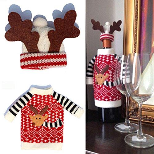 Demiawaking Weihnachten Hirsch Wein Flasche Abdeckung Weinflaschen Fuer Party Dekoration