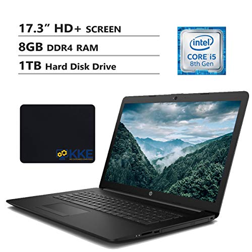 "HP Notebook 17.3"" HD+ Screen Laptop. Intel Core i5-8265U Up to 3.9GHz, 8GB DDR4 RAM, 1TB Hard Disk Drive, Wi-Fi, HDMI, USB 3.0, RJ-45, Windows 10, Black, with KKE Mouse Pad"