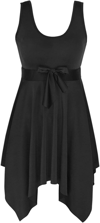 DANIFY Women's Plus Size Swim Dress Tummy Control Swimdress Slimming Swimsuits Retro Skirt Swimwear