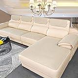 BK&MF Sofa Abdeckung Für Ledercouch, Super rutschfeste Sofa Dämpfung Couch überwurf Für Haustiere, Sofa Möbel Protector Separat Erhältlich-beige 30x60cm(12x24inch) 2pcs