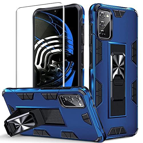 Pnakqil Funda Compatible con Samsung Galaxy S20 FE 5G 6.5' + 1 Protectores de Pantalla,Soporte de Metal Integrado, Armor Grado Antigolpe Case(Azul)