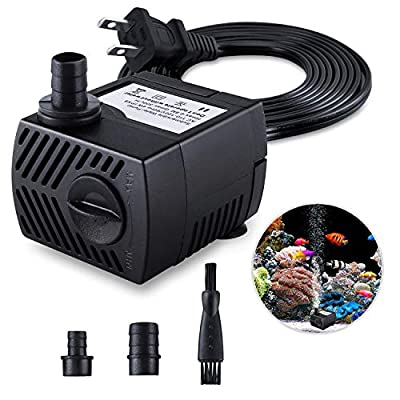 Fountain Pump, 80GPH(4W 300L/H) Submersible Water Pump, Durable Outdoor Fountain Water Pump with 7.2ft?2.2m? Power Cord, 3 Nozzles for Aquarium, Pond, Fish Tank, Water Pump Hydroponics, Fountain