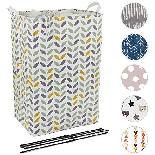 Quubik Design - 72L großer Wäschekorb - Faltbarer Wäschesammler aus hochwertigem Stoff - Stabiler Korb zur Aufbewahrung - mit Bodenplatte, Stützen und Kordelzug-Verschluss