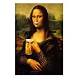 Divertido Mona Lisa Bebiendo Cerveza Poster Chica Mala Arte de la Pared Vintage Da Vinci Famoso Lienzo Pintura Sala de Estar hogar Estilo nórdico Decoracion 50x70cmx1 sin Marco