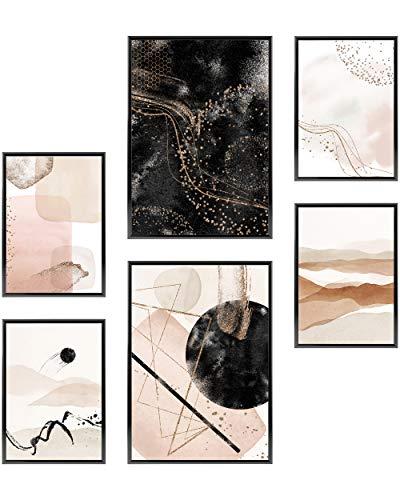 Heimlich Set di Stampe da Parete - Senza Cornici - Decorazioni da Muro per Soggiorno, Camera da Letto e Cucina - Poster Abbinati - 2 x A3 (30x42cm) et 4 x A4 (21x30cm)  »Acquerello Astratto Oro II «