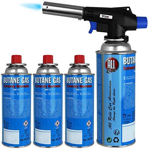 Brenneraufsatz inkl. 4 Gaskartuschen Butan Brenner Bunsenbrenner Gas Lötbrenner Gasbrenner Flambiergerät