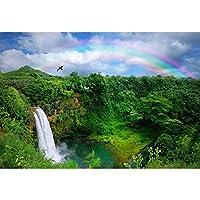 GooEoo 10x7ft 熱帯雨林のテーマデザインスタイル滝レインボーグリーンウォーターグリーンマウンテン写真背景写真ブースブース背景家族休暇誕生日パーティー写真ビニール素材